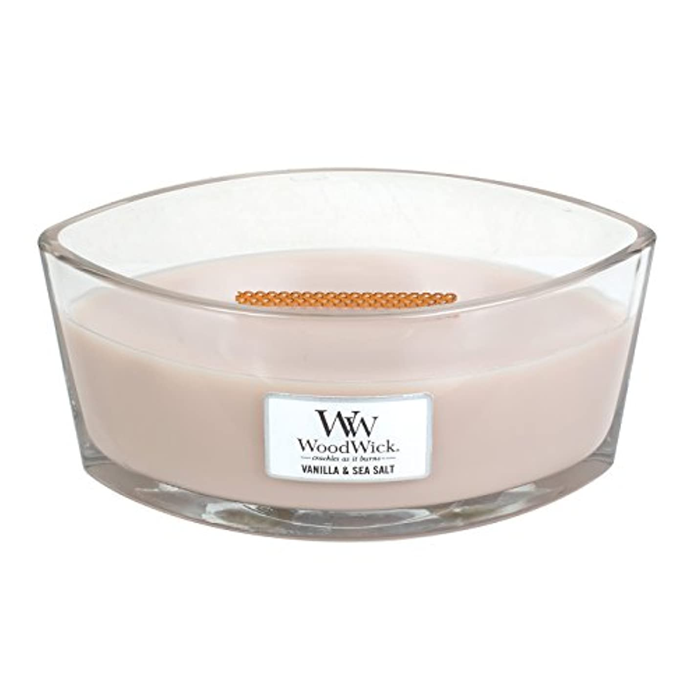 ロッジ役員ペパーミントWoodWick VANILLA & SEA SALT, Highly Scented Candle, Ellipse Glass Jar with Original HearthWick Flame, Large 18cm...