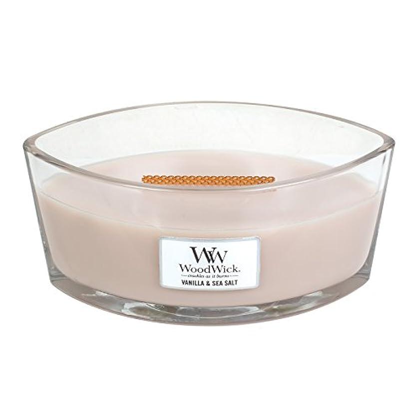 キャプションエレガントワークショップWoodWick VANILLA & SEA SALT, Highly Scented Candle, Ellipse Glass Jar with Original HearthWick Flame, Large 18cm...