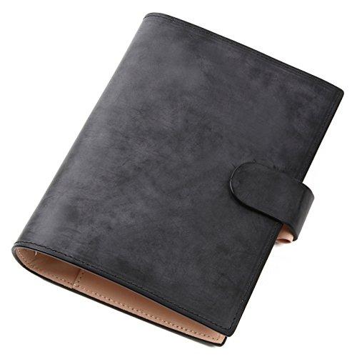 [ラファエロ] Raffaello 一流の革職人が作る ブライドルレザーで製作したシステム手帳 バイブルサイズ 6穴 本革 (ロイヤルブラック)