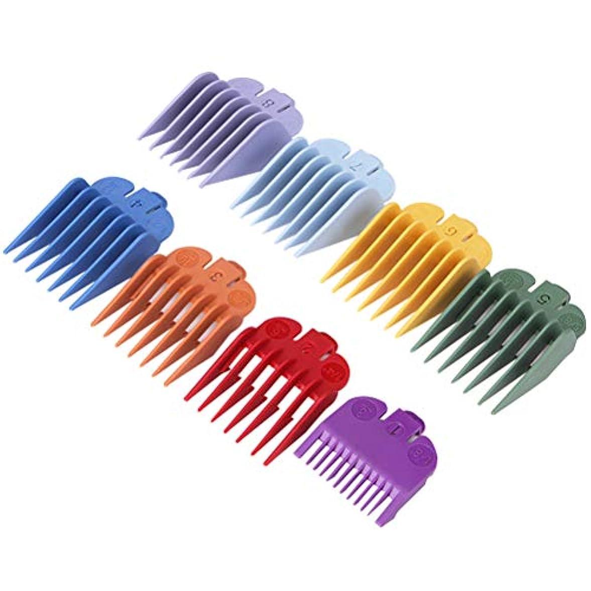 闘争パプアニューギニア大使Healifty バリカンアタッチメント櫛カラフルなリミットくしセット電気ヘアトリマーシェーバー理髪アクセサリー8ピース