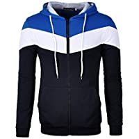 Mooncolour Mens Novelty Color Block Hoodies Cozy Sport Outwear