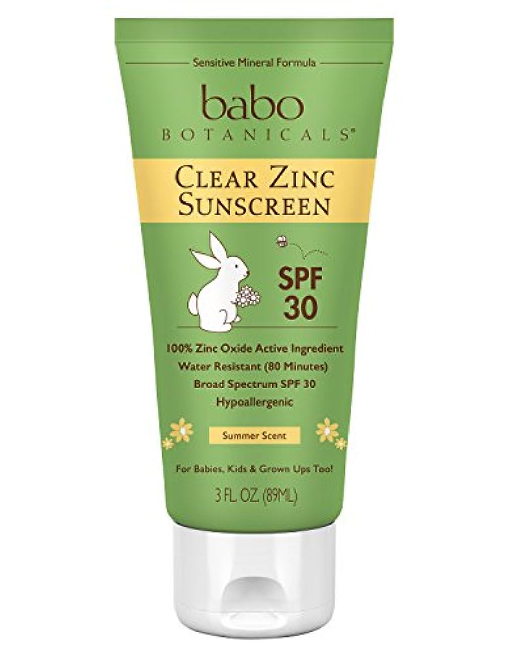 靴容量吸い込むBabo Botanicals バボボタニカル SPF 30 クリア亜鉛ローション 85g (3オンス) ベストなナチュラルミネラルサンスクリーン ノンナノ 敏感