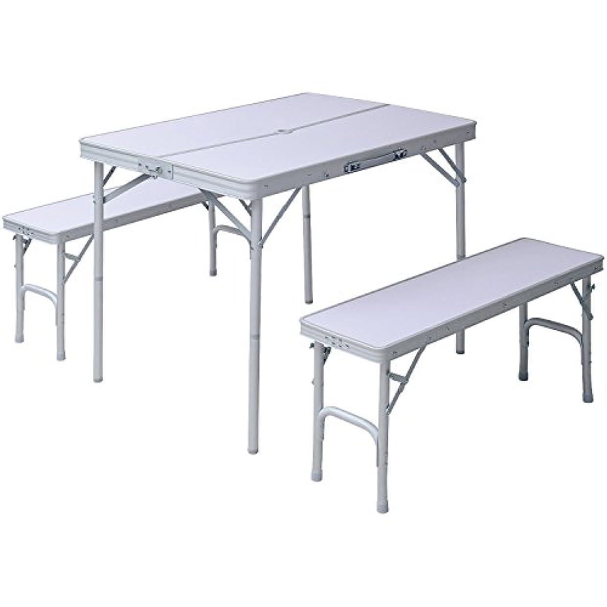 ヤギ噴水以内に山善 キャンパーズコレクション テーブルベンチセット HTBS-4(WH)*