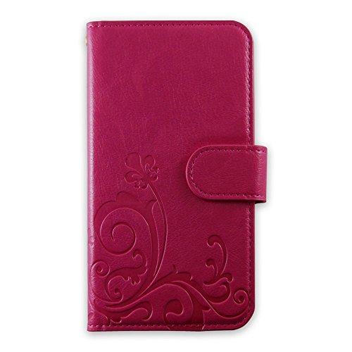 whitenuts LG G3 Beat LG-D722J ケース 手帳型 エンボスデザイン ピンク/百合 スマホケース 手帳 WN-OD172585_ML
