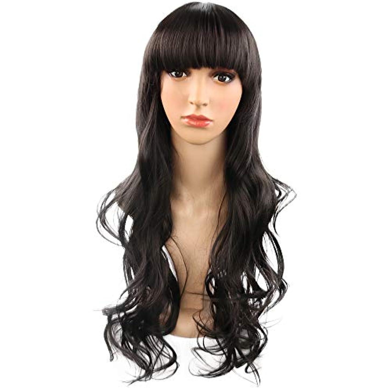 脇に柱葉巻女性の26インチフラット前髪合成かつら耐熱完全な頭部の髪の交換用ウィッグロングカーリーウィッグ (Color : 黒)