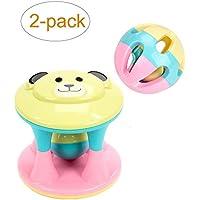 2 - Pack Baby Rattleおもちゃ、ローリングボールShaker Handbells Shake and Grab Rattle Developmentalトイ幼児新生児、ベビーの初期学習教育玩具
