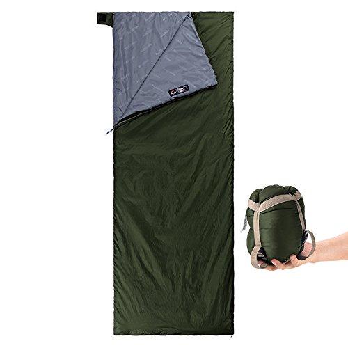 Yarrashop 封筒型 シュラフ 寝袋 軽量 キャンプ コンパクト 最低使用温度15度 アウトドア 自宅 収納袋付 グリーン