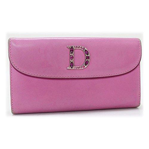 (クリスチャン・ディオール) Christian Dior Christian Dior クリスチャンディオール Dロゴ ラインストーン 2つ折り長財布 ピンク [中古]