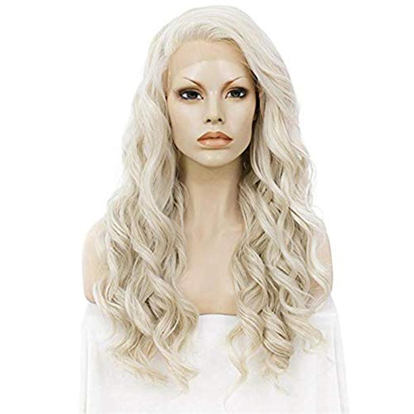 本当にパニック失うヘアピース ヨーロッパおよびアメリカの女性の長い巻き毛のレースの金の大きい波の化学繊維の毛の自然なかつらの毛セット