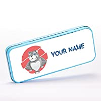 Customized Bulldog Dog Animal Children Kids Personalised 文房具用缶ケース - 青