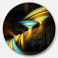 "DesignArt mt9315-c38""フラクタル3dレイヤーイエローブルー抽象アートディスク""メタル壁アート、38cm x 38cm、イエロー"