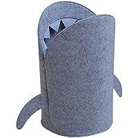 B Blesiya 可愛い サメのデザイン 布 折り畳み式 ぬいぐるみ おもちゃ 収納袋 収納バスケット 多機能 - L