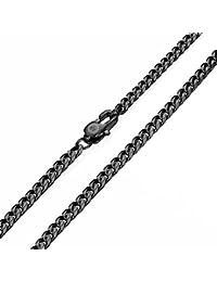 Davieslee メンズ ネックレス チェーン チョーカー 喜平 チェーン 8面カット ステンレス ブラック 3mm