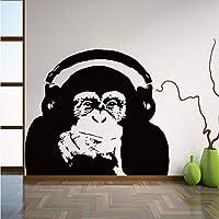 Ansyny 56 * 64センチ思考ゴリラ壁デカールアート家の装飾ビニール猿音楽ウォールステッカー寝室の壁アート壁画