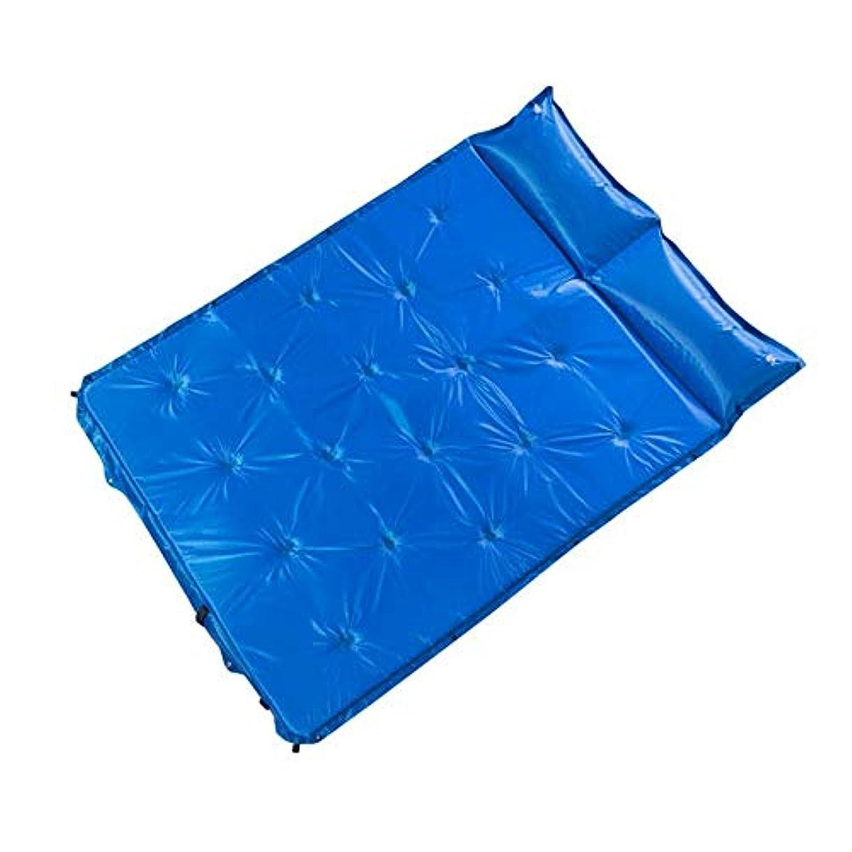 非行シーボードゴムJia Xing キャンプエアベッド自動インフレータブルクッション屋外旅行キャンプダブルスプライシング自己充填パッド水分パッドポータブルフロアマット自動エアベッド エアベッド (Color : Blue)