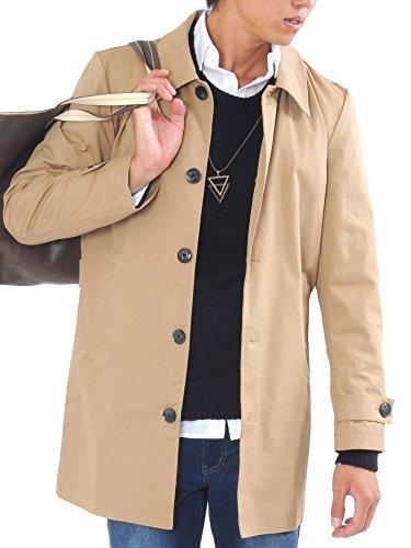 (スペイド) SPADE トレンチコート ステンカラーコート メンズ コート ロング 【e297】 (M, ベージュ)