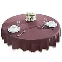 ラウンドテーブルクロス、布コットンリネン家庭用ラウンドテーブルクロス、コーヒーテーブルテーブルクロス (色 : ワインレッド, サイズ さいず : 180cm)