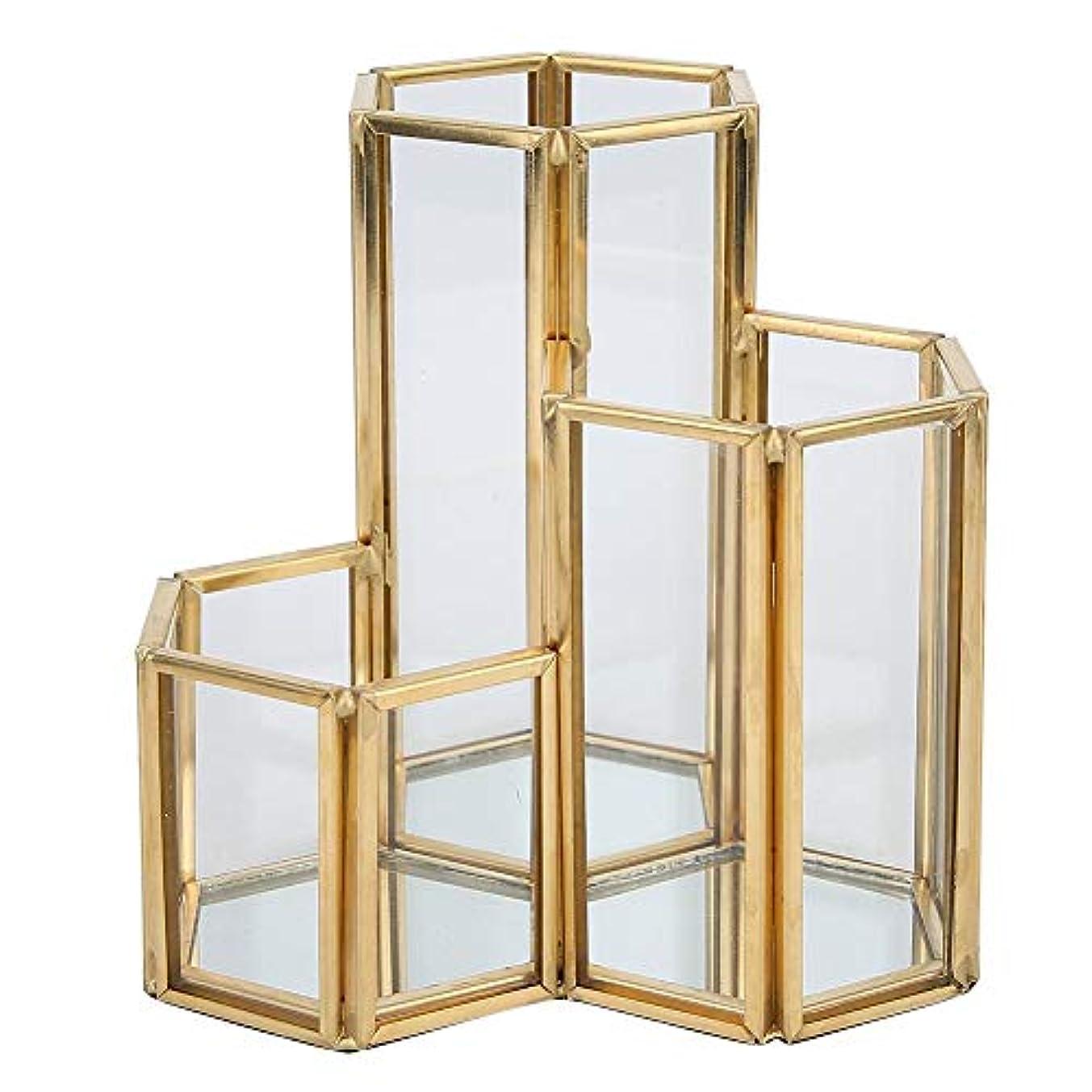 お願いします紳士気取りの、きざなレザー3スロットネイルアートツール収納ボックス、ネイルブラシネイルアクセサリー収納ボックス、多目的化粧品ディスプレイケース(01)