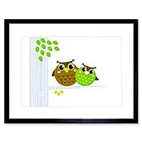 Painting Illustration Cartoon Owls Tree Leave Framed Wall Art Print ペインティング図漫画木壁