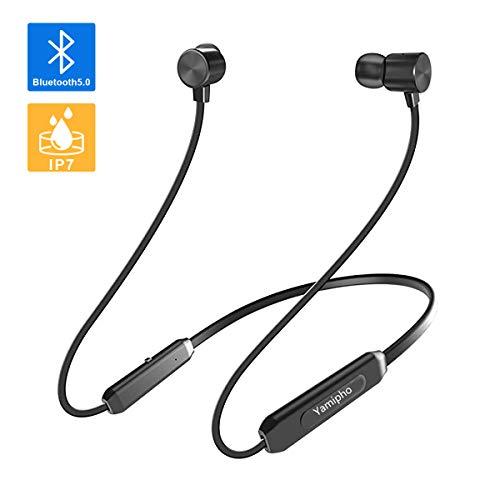 [Bluetooth5.0進化版] 8-10時間連続再生 Bluetooth イヤホン 完全 ワイヤレス ブルートゥース 無線 イヤホン Hi-Fi 高音質 マイク内蔵 マグネット搭載 CVC6.0ノイズキャンセリング技術搭載 ネックバンド型 カナル型 スポーツ用 IPX7完全防水 ハンズフリー通話 マルチペアリングiPhone、iPod、Android対応 130mAh(ブラック)