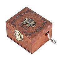 Akozonオルゴール木製ハンドクランククラフトバースデーギフトメカニカルクラシック1ピース(象)