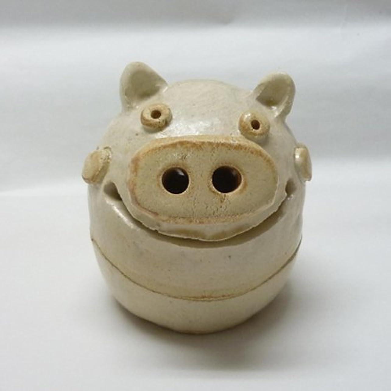 命題描く活気づける香炉 ぶた君 香炉(白) [H9cm] HANDMADE プレゼント ギフト 和食器 かわいい インテリア