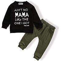 MEKILYN 2PCs Baby Deer Print Hoodies with Pocket Top + Striped Long Pants Autumn Outfit Set