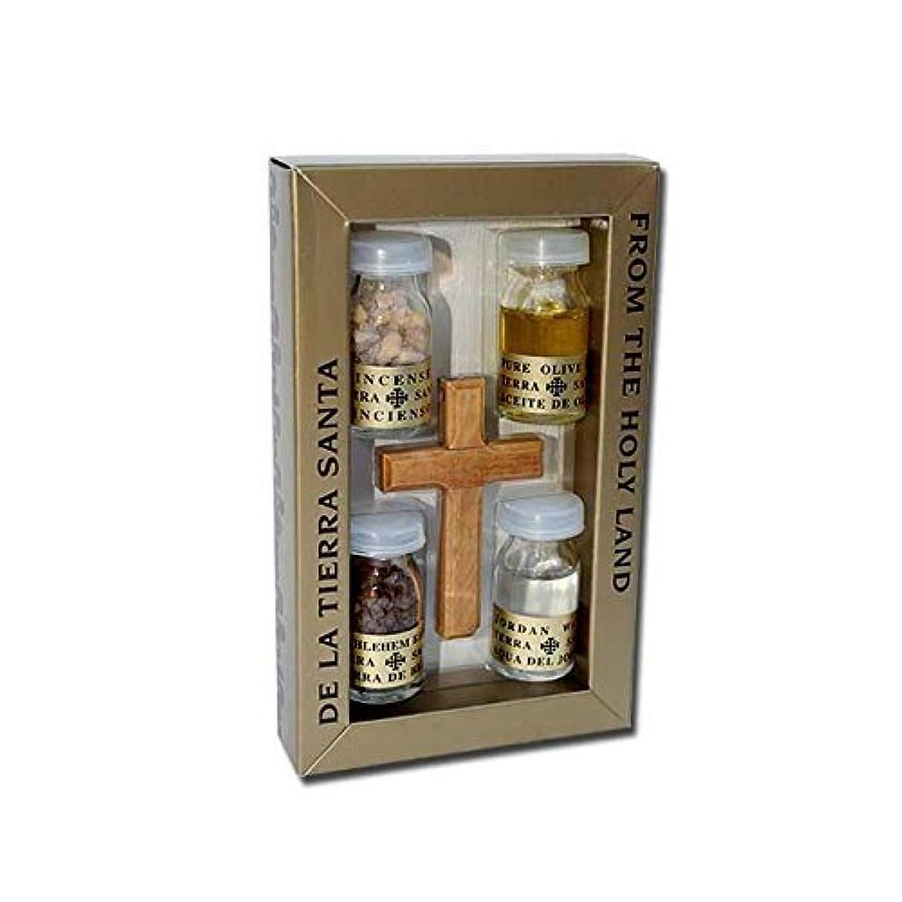 オリーブウッドクロスセットwith 4 Bottles – オイル、水、Incense & Earth – Prayerカードby HolyRoses