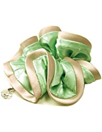 haglm245nnngr ヘアアクセサリー 髪飾り (リトルムーン) シュシュ フロッキー フラワー (ストーン チャーム 付) グリーン サテン クリスタル