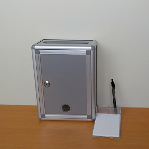 『Aoakua 鍵付きBOX 募金箱 / 応募箱 / 投票箱 / アンケートボックス シルバーグレー W22cm』の5枚目の画像