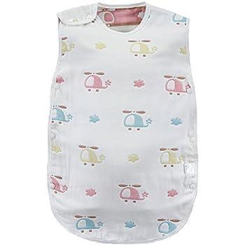 7ab97b45f6410 AKC ベビー スリーパー 6重ガーゼ パジャマ コットン 寝袋 赤ちゃん 出産祝い (ヘリ)