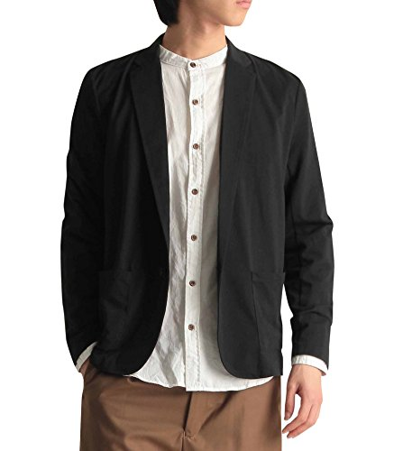 カット地 ニット テーラード カーディガン 無地 長袖 ジャケット 肩掛け mens メンズ カジュアル ストリート マリン リゾート ブラック Lサイズ