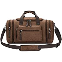 Canvas Duffle Bag for Travel, 50L Overnight Weekend Tote Luggage Men's Bag, by Cloudin (Blue/Coffee)