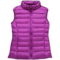 EnergyWD Womens Trendly Stand Collar Lightweight Thin Zip-up Vest