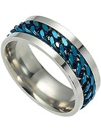 YiyiLai シンプル ステンレス リング 太 指輪 メンズ アクセサリー レディース ブルー 米国サイズ 9号