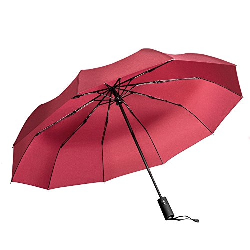 Windproof Umbrella, Vanwalk Black Portable Compact Travel Folding Strong Umbrella 10-Rib Sturdy with 210t Fabric Teflon, Auto Open and Close (Red)