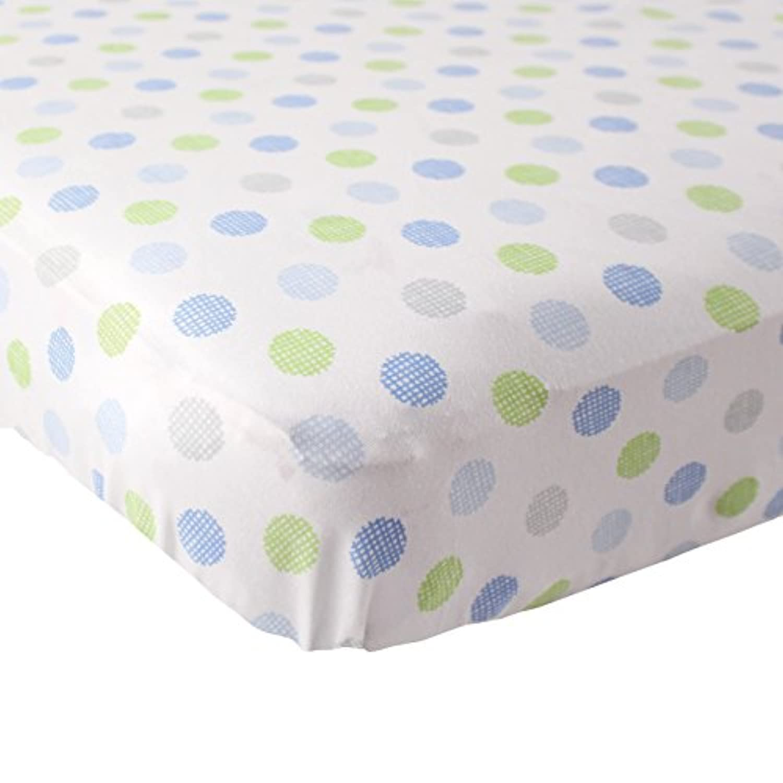 Luvable Friends Fitted Knit Cotton Crib Sheet Crosshatch Dot, Blue [並行輸入品]
