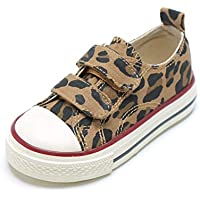 Gungun Toddler Little Kids Boys and Girls Leopard Velcro Slip on Hook and Loops Sneakers Canvas Shoes