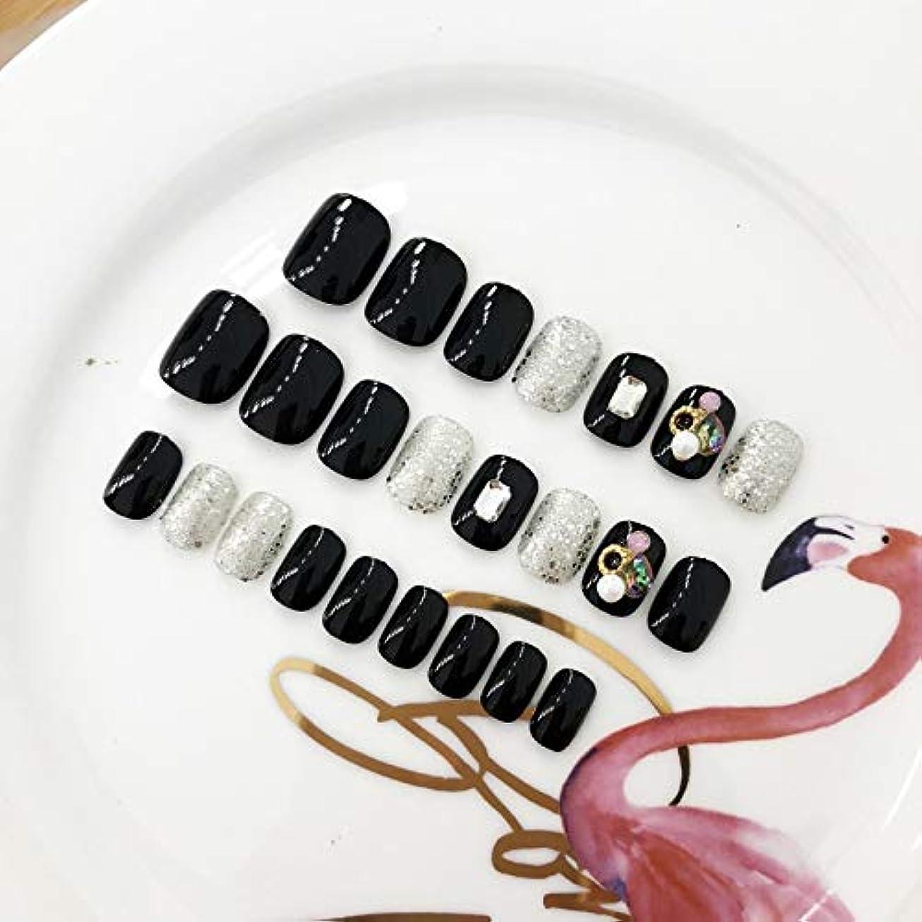 マイルド降ろすダメージAFAEF HOME 24個12サイズのブラックダイヤモンドネイルパッチ付き偽爪ロングフルカバーネイルチップ(黒)