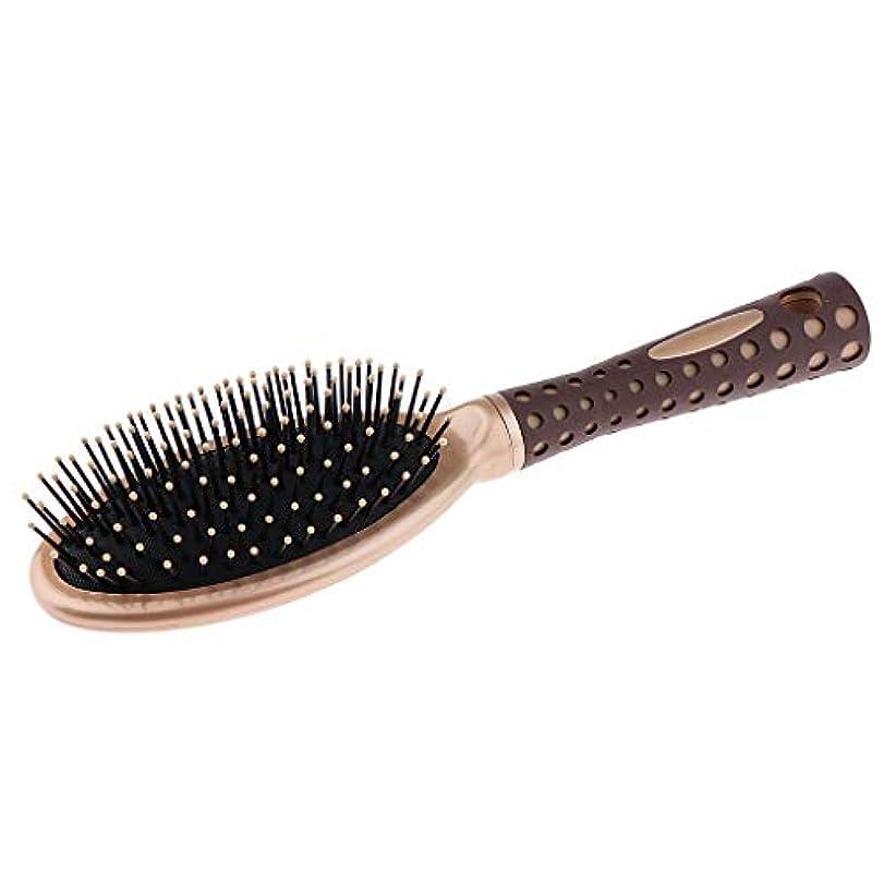 湿度公キャプテンブライヘアコーム 頭皮マッサージ クッションヘアブラシ 静電防止櫛 マッサージャー 2サイズ選べ - S
