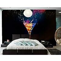 Wuyyii カクテルステムウェアスプレー黒背景食品壁紙、バーカフェ壁レストランキッチンダイニングルームテレビ壁カスタム3D壁画-400X280Cm