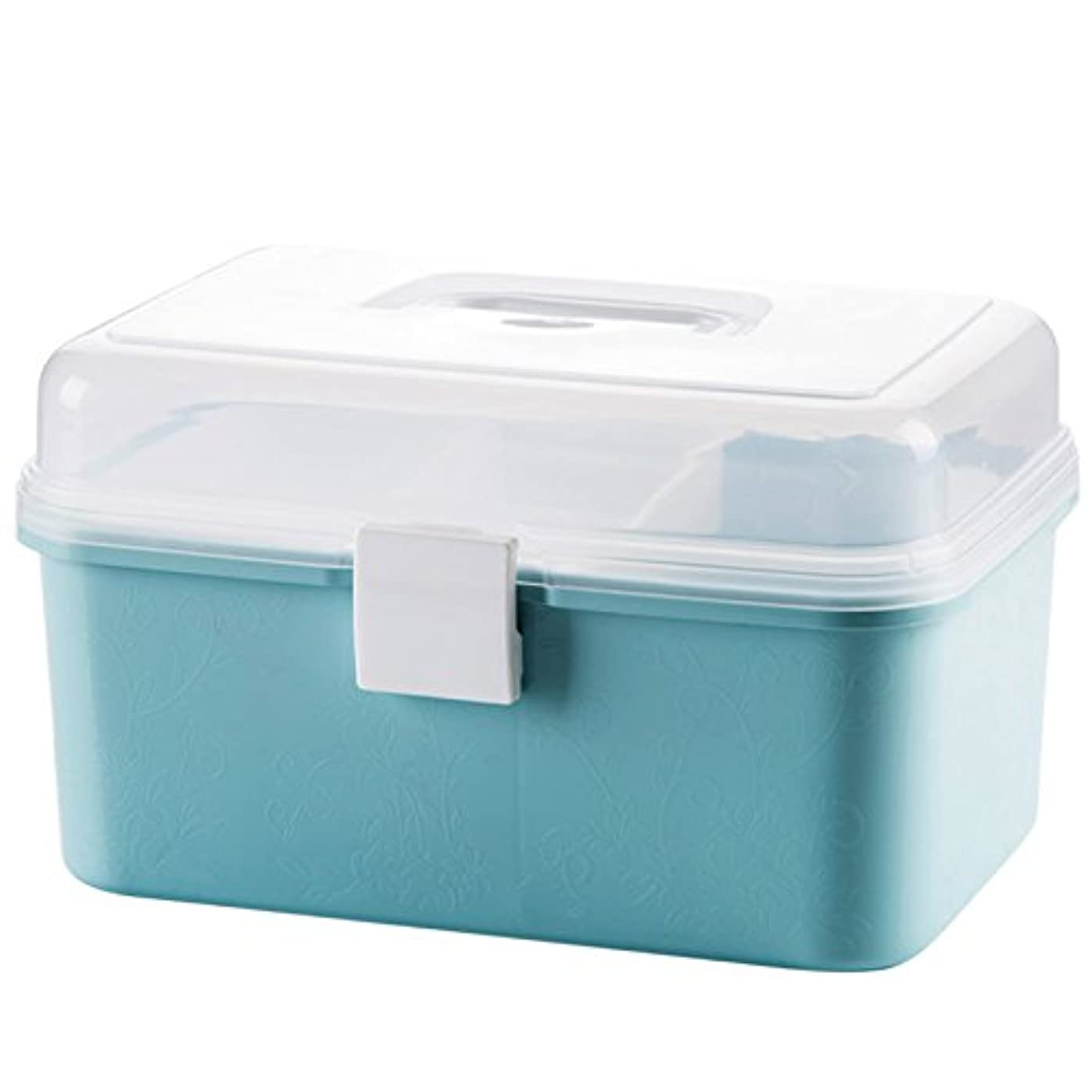 小道悪意のある私たち自身KINGZUO 救急ボックス 2段 応急処置ボックス 救急箱 収納ケース 家庭用 プラスチック ライトブルー クリア