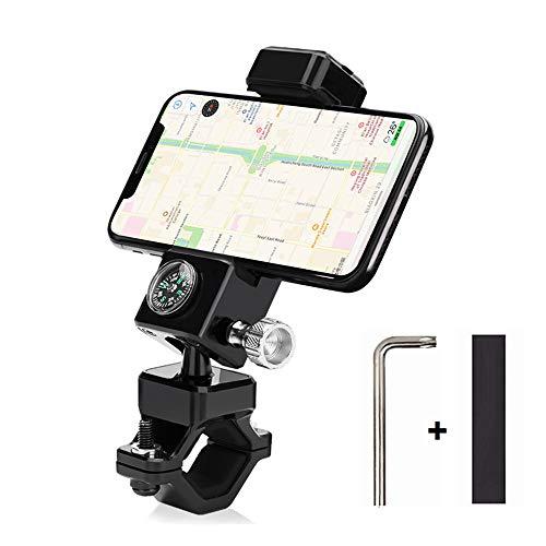 自転車の電話ホルダー 車載スマートフォンホルダー コンパスナビゲーションとLEDライト付き 360度回転 iPhone/Android / Samsung galaxy/Sony / LGおよび他の3.0〜6.5インチの携帯電話に適します (ブラック)