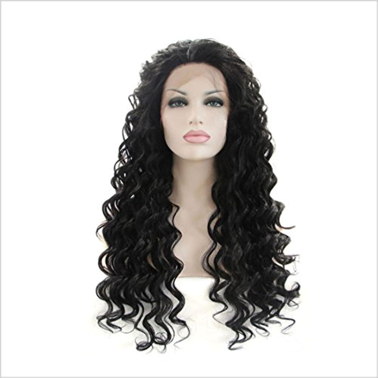 偶然恥ずかしさ女将JIANFU (ブラウン黒、黒)女性のための耐熱性のウィッグレース前部アフリカンスモールロールズナチュラルカラーの髪完全な手織りの髪のための合成長いカーリーウィッグ (Color : ブラック)