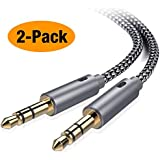 AUX Cable,[2-Pack,4ft,Hi-Fi Sound] 3.5mm Auxiliary Audio Cable Nylon Braided Male to Male AUX Cord Compatible Car/Home Stereos,Speaker,iPhone iPod iPad,Headphones,Sony Beats,Echo Dot (Grey)