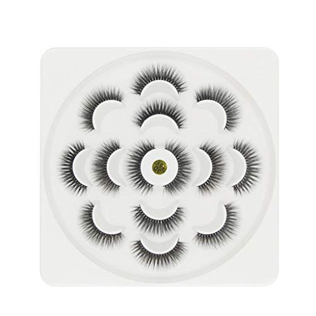 メロディアスフェンスハチ7ペア高級3Dまつげふわふわストリップまつげロングナチュラルパーティー