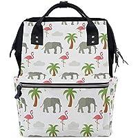 ママバッグ マザーズバッグ リュックサック ハンドバッグ 旅行用 象柄 フラミンゴ ファション