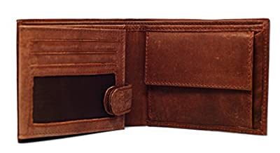 Men's Wallet, Brown Buffalo Leather, RFID Blocking Electronic Theft Protection, Trifold 13 Card Slots with Coin Purse One Black Stone