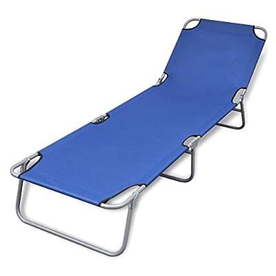 Foldable Sunlounger Festnight Graden Sunbed for Sunbathing with Adjustable Backrest Blue,Black