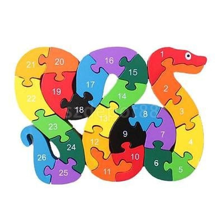 面白い木製ブロックSnakeキッズ子教育おもちゃアルファベットパズルジグソー